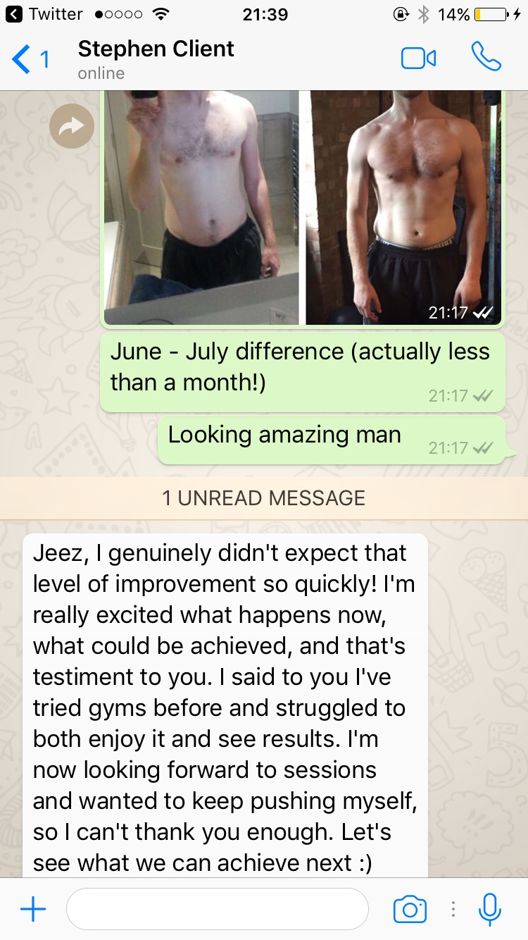 24 days progress training twice a week under get body confident guidance